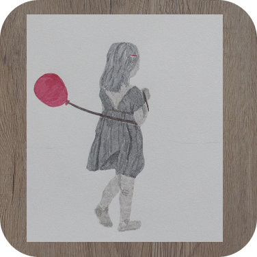 Dessin La fillette au ballon