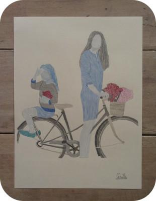 dessin Velo et Fleurs